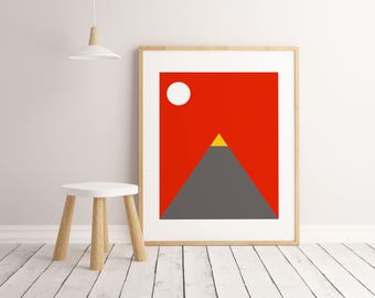 Volcano Print, Kids Room Decor, Kids Room Art, Kids Room Wall Art, Kids Room Poster, Printable Wall Art