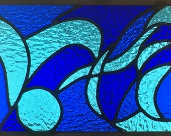Stained Glass Panel: Blue Wave -- Vote