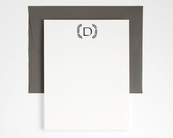 GREENHOUSE Monogram Letterpress Stationery - Custom Note Card Set - Classic Design