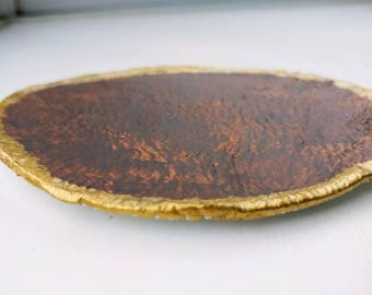 Flat jewellery trinket holder brown and gold