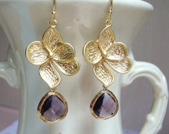 Matte Gold Dogwood Flower and Amethyst Glass Dangle Earrings. Bridesmaid Earrings. Fall Wedding. Garden Wedding. Wedding Jewelry