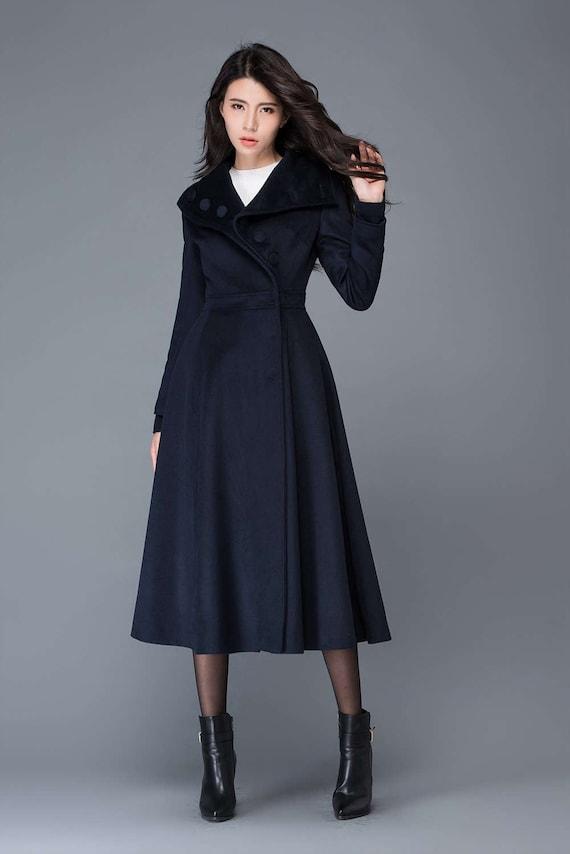 Attractive long coat wool coat womens winter coats dress coat navy OJ04