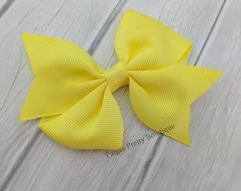 "3"" Yellow Pinwheel Hair Bow-Alligator Clip-Baby Hair Bow-Toddler Hair Bow"