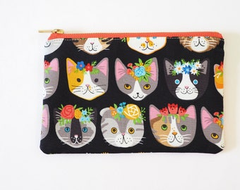 Flower Crown Cats Metal Zipper Bag 8x5 - Makeup Bag / Pencil Bag
