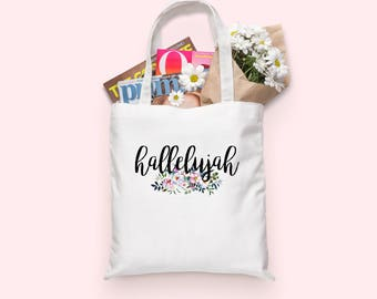 Hallelujah Tote bag | Tote Bag | Tote Bag Canvas | Floral Tote | Tote | Hallelujah | Christian Gifts | Gift for Her