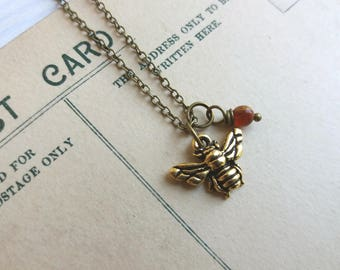 Petite Gold Bee charm necklace with carnelian - little bee - gift for gardener - nickel free