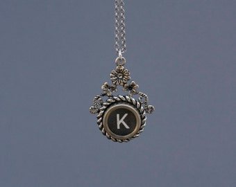 "Typewriter Key Necklace -Typewriter Key Jewelry- Vintage Black Letter ""K""-Typewriter Key Accessory-Typewriter Letter K Pendant-Glass Top"