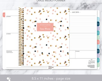 8.5x11 weekly planner 2018 2019   choose your start month   12 month calendar   LARGE WEEKLY PLANNER   pink confetti dots