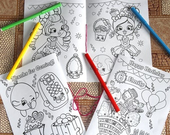Shopkins Birthday Party coloring pages, PDF file