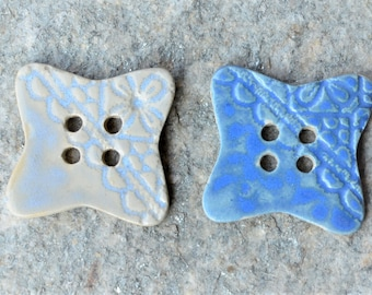 2 big squared Stoneware buttons with lace design - white and blue - 4.2 x 4.2 cm about