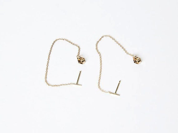 karat gold plated mmas drop quartz clear earrings