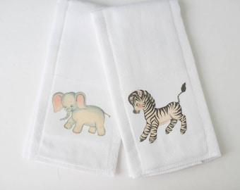 Baby Elephant & Baby Zebra Burp Cloth Set | Gifts under 15