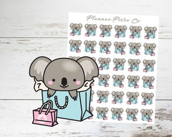 Koala Planner Stickers // Shopping Spree // Me Time // Retail Therapy // 008