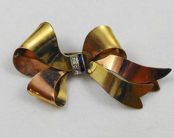 Vintage Signed Taylord Sterling/GF Retro Bow Brooch Pin with Blue and Clear Rhinestones