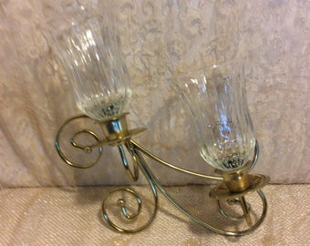 Vintage Brass Wall Scounces  Candleholder with Glass Globes, Shabby Chic Decor, Hollywood Regency, Retro Wall Decor