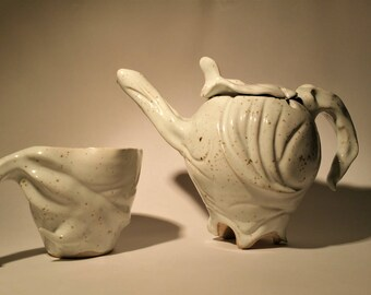 Fabric Teapot and Cup. Handmade one of a kind stoneware teapot and mug set.