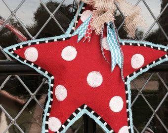 Star burlap door hanger