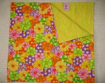 SALE!!  Blanket-Bright Pink Lemon Yellow Lime Green Tangerine Orange Purple Parasols w/Lemon Yellow Flannel Back