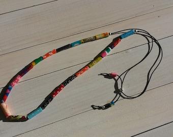 "multicolored ""fabric"" adjustable necklace - model 2"