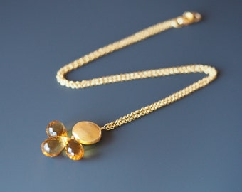 Golden Citrine Briolette and Vermeil Necklace and Earrings Set