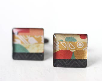 Colorful Men's Cufflinks - Square Cuff Links for Men, Groom, and Groomsmen in Yellow, Gold, Black, Red and Blue