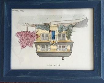 Custom Watercolor House Drawing