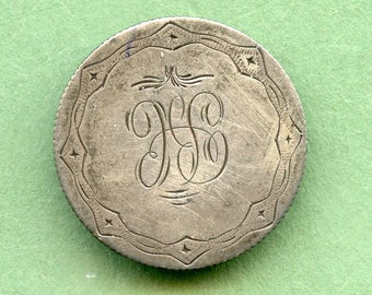"Love Token  1856 Seated Liberty Silver Quarter w/ full Liberty ""JGS"" <> #DO-47"