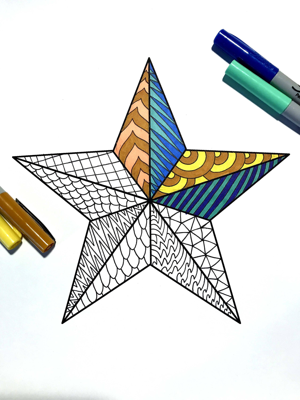 Nautical Star PDF Zentangle Coloring Page