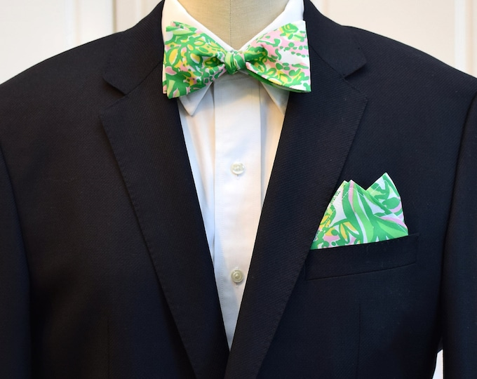 Men's Pocket Square and Bow Tie, green pink Seeing Pink Elephants Lilly print, wedding party, groomsmen gift, groom bow tie set, prom bowtie