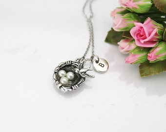 Bird Nest Necklace, Silver Bird Nest Charm, Bird Charm, Animal Charm, Mother's Day Gift, Sister Gift,  Gift for Aunt, Grandmother Gift, N159