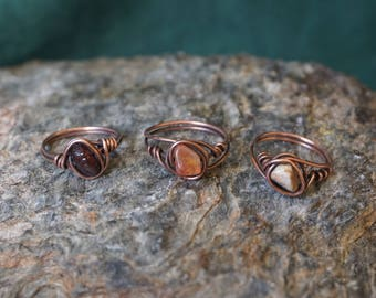 Copper ring with a semi-precious stone. Garnet, Carnelian, Jasper.