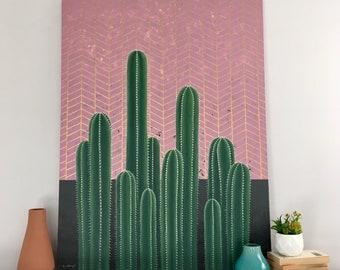 "Cactus Fine Art, ""Blush Cacti"" / Line Work, Botanical Painting, Fine Art, Geometric Art, Original Painting, Wall Art, Canvas Art, Acrylic"