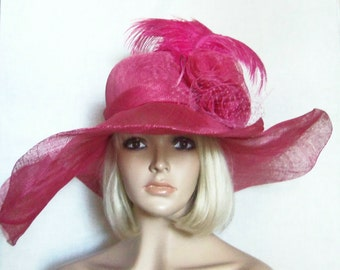 Hot Pink Hat - Wide Brim Pink Hat - Feathers