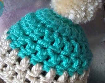 Teal and Beige Crochet Pompom Hat