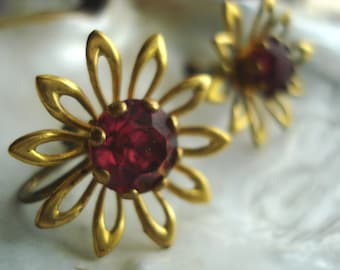 Gold Tone Rhinestone Flower Screw type Earrings
