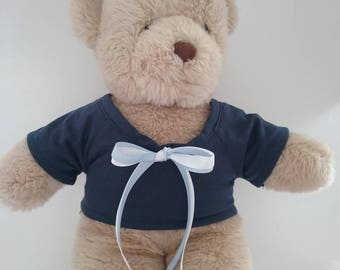Teddy Bear Clothes, Basic Navy T-Shirt with Pale Blue and White Tie