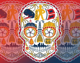 Historic Tulsa Sugar Skull Vinyl Sticker