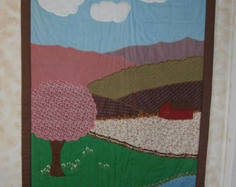 LANDSCAPE QUILT WALLHANGING 66x42 Hand Embroidered Appliqued Tied Quilt