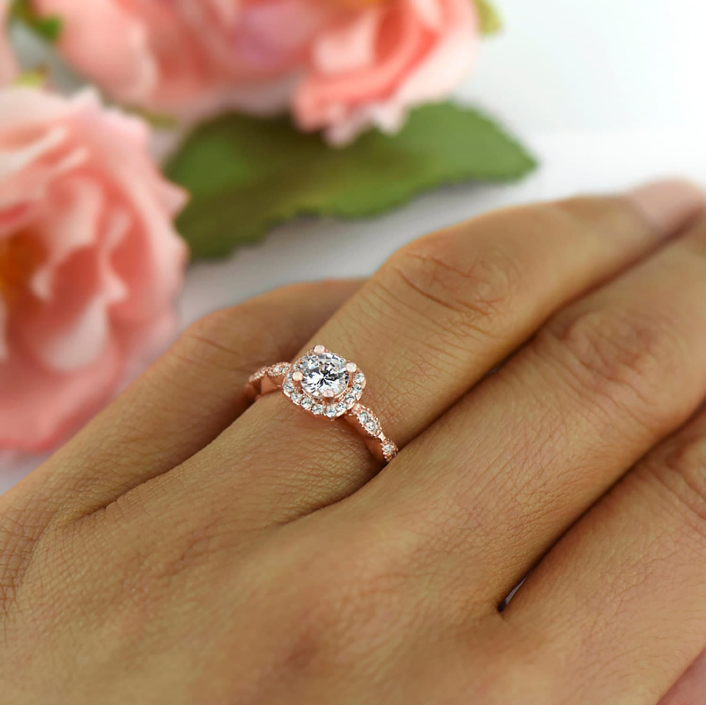 3 4 Ctw Halo Wedding Ring Vintage Style Man Made