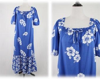 1980s Blue White Hibiscus Long Maxi Mu Mu Hawaiian Dress by Sidan