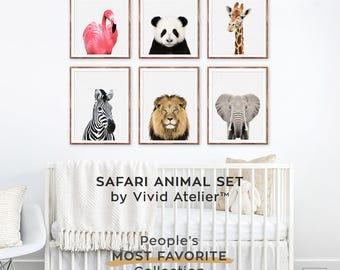 Safari Nursery Set, Safari Nursery Decor, Print Set of 6, Safari Animal Nursery Wall Art, Baby Girl Nursery, Jungle Animals, Animal Prints