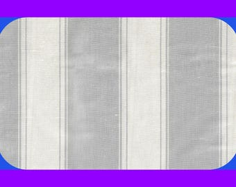 Vintage Dupioni Stripes 100% SILK Fabric Silver & White