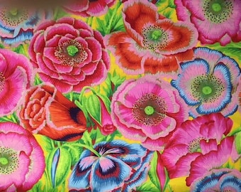 2 yds. Poppy Garden in red from the 2018 Kaffe Fassett collection
