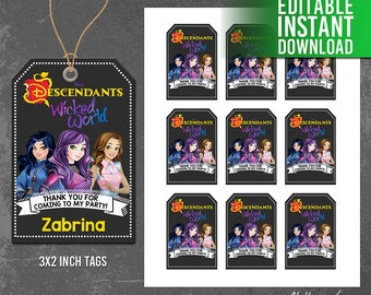 Descendants Thank You Tag - INSTANT DOWNLOAD, Descendants Favor Tags, Wicked World Birthday Party, Editable PDF Template