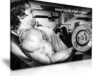 Arnold Schwarzenegger Inspirational Quote Stretched Canvas Print 76 cm x 50