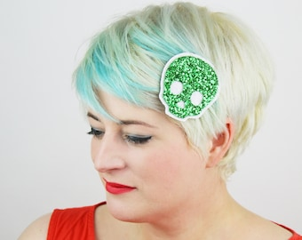 Skull Glitter Hair Clip, Various Colours