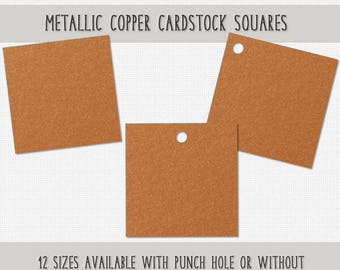 Metallic Copper Cardstock Squares Shiny Copper Paper Squares Copper Wedding Tags Copper Cardstock Tags Choose Size, Style Set of 40 Squares