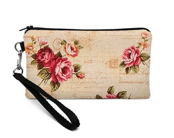Floral iPhone 8 Plus Clutch, Women's Zip Wallet with Removable Strap, Galaxy S8 Purse, Padded Smartphone Wristlet - shabby chic rose script