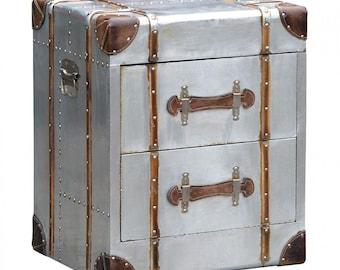 Vintage Industrial Storage Trunk Steamer Beside Table Cabinet