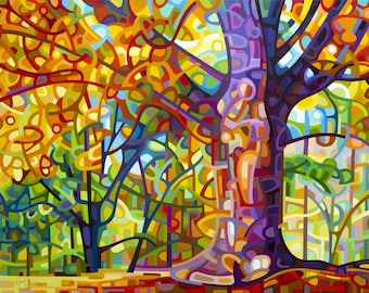 colorful walk in the forest, autumn, fall, orange, purple, Large Signed Fine Art Giclee Print from my Original Painting - One Fine Day